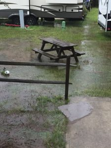 Ground covered with inches of rain at RV park